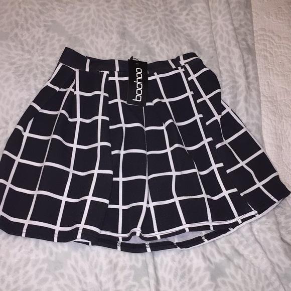Boohoo Dresses & Skirts - Petite Erin checked box pleat skater skirt